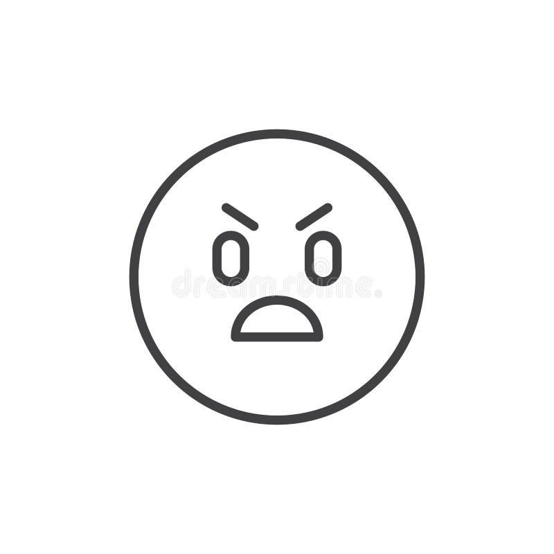 Ícone irritado do esboço do emoticon ilustração do vetor