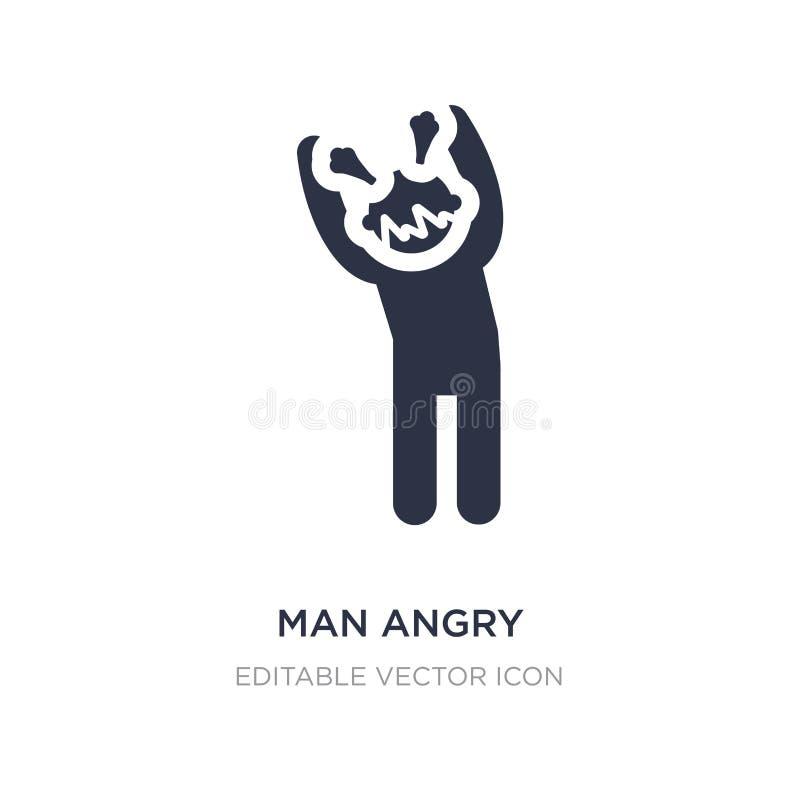ícone irritado do homem no fundo branco Ilustração simples do elemento do conceito dos povos ilustração do vetor
