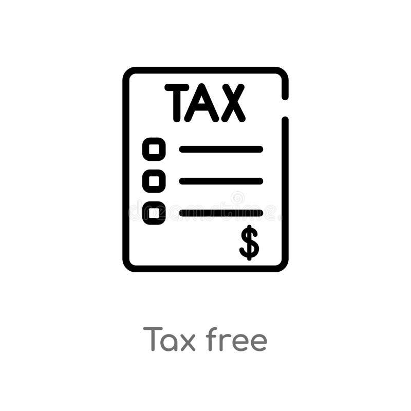 ícone isento de impostos do vetor do esboço linha simples preta isolada ilustração do elemento do conceito da entrega e da logíst ilustração stock