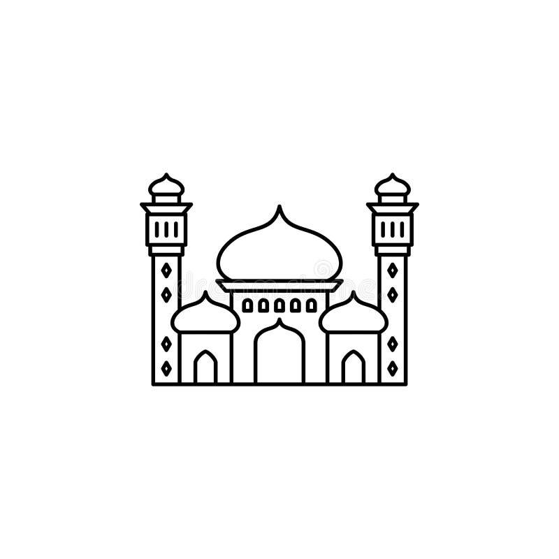 Ícone islâmico do esboço da mesquita ilustração do vetor
