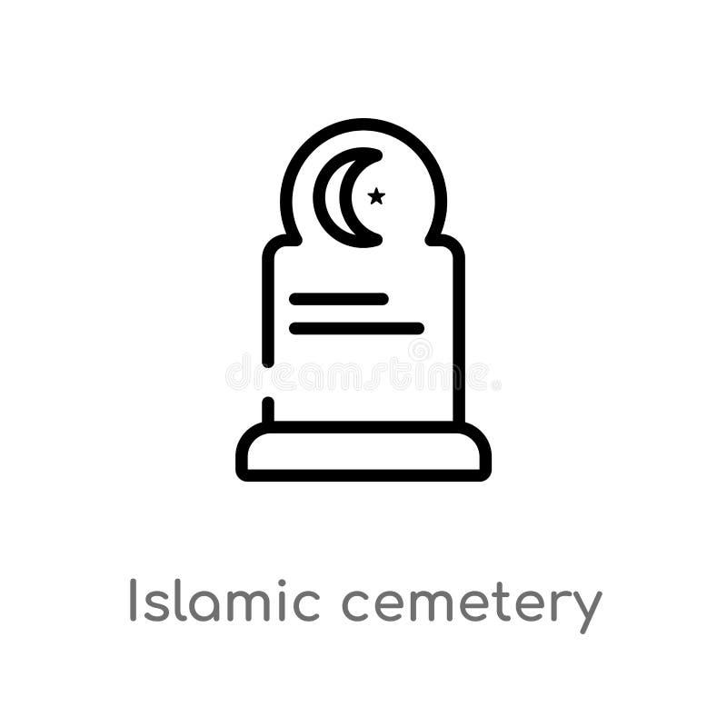 ícone islâmico do vetor do cemitério do esboço linha simples preta isolada ilustração do elemento do conceito das construções Vet ilustração do vetor