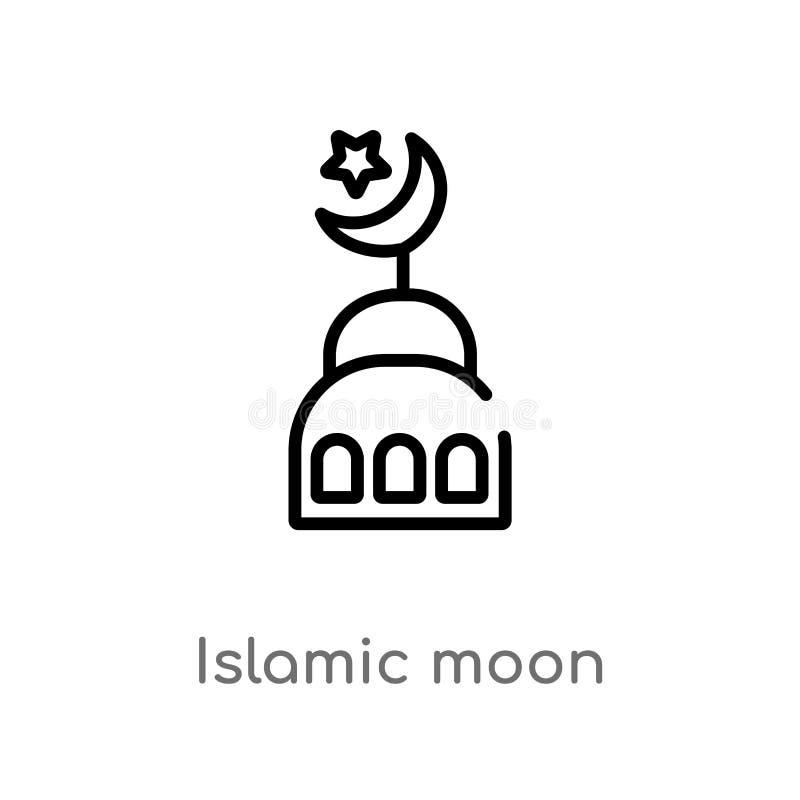 ícone islâmico do vetor da lua do esboço linha simples preta isolada ilustração do elemento do conceito das formas Curso editável ilustração do vetor