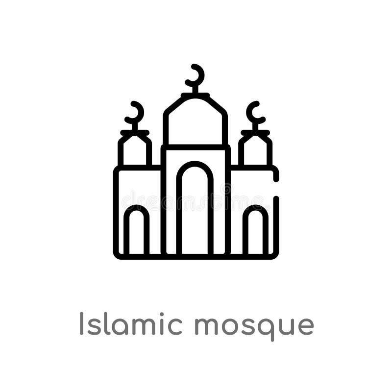 ?cone isl?mico do vetor da mesquita do esbo?o linha simples preta isolada ilustra??o do elemento do conceito religion-2 Vetor edi ilustração royalty free
