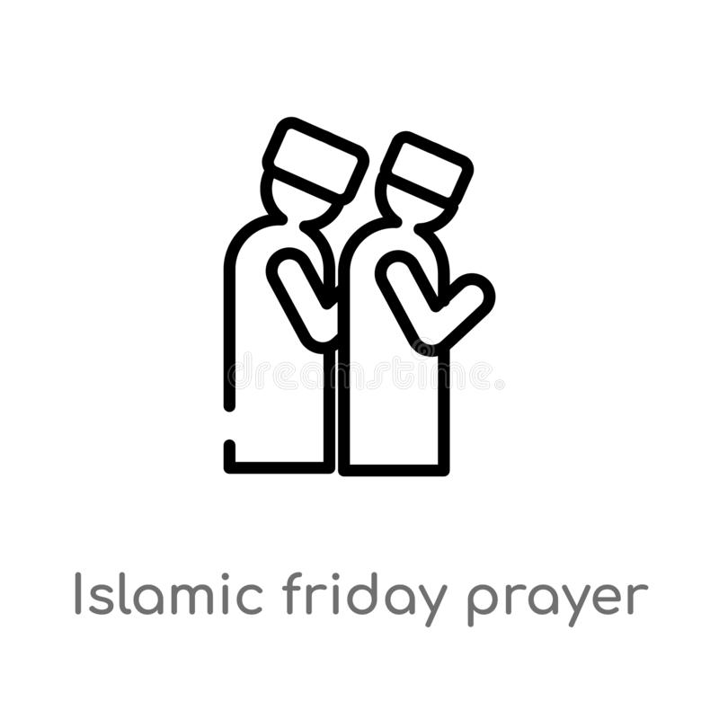ícone islâmico do vetor da oração de sexta-feira do esboço linha simples preta isolada ilustração do elemento do conceito religio ilustração royalty free