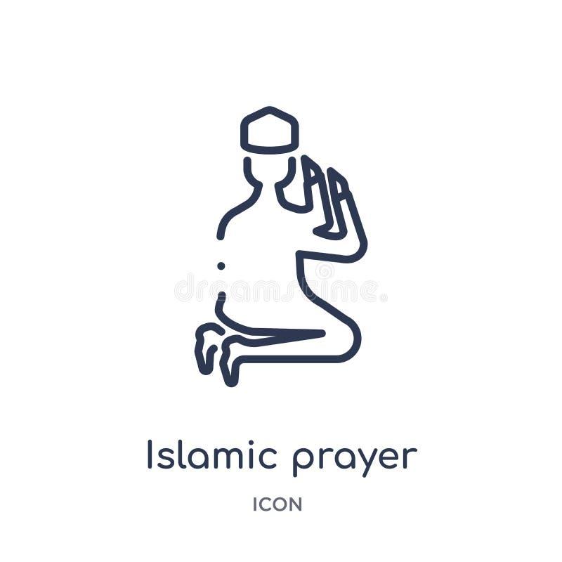 Ícone islâmico linear da oração da coleção do esboço das culturas Linha fina ícone islâmico da oração isolado no fundo branco isl ilustração royalty free