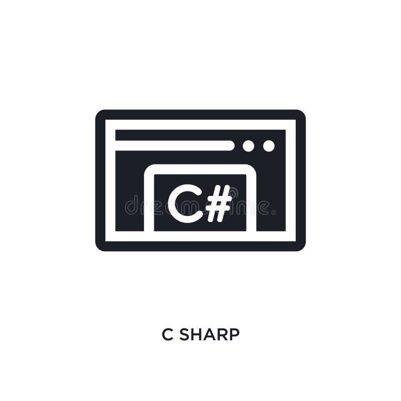 ícone isolado afiado de c ilustração simples do elemento dos ícones de programação do conceito projeto editável afiado do símbolo ilustração do vetor