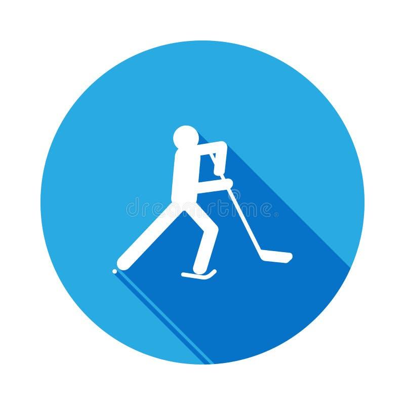 Ícone isolado atleta do hóquei em gelo da silhueta com sombra longa Os jogos do esporte de inverno disciplinam sinais e os símbol ilustração stock