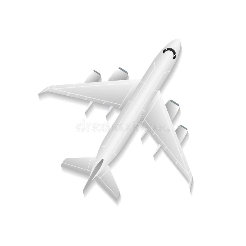 Ícone isolado avião do vetor do jato da vista superior ilustração stock