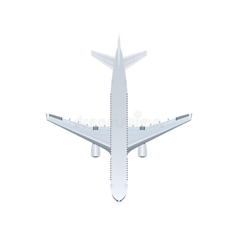 Ícone isolado avião do vetor do jato da vista superior ilustração do vetor