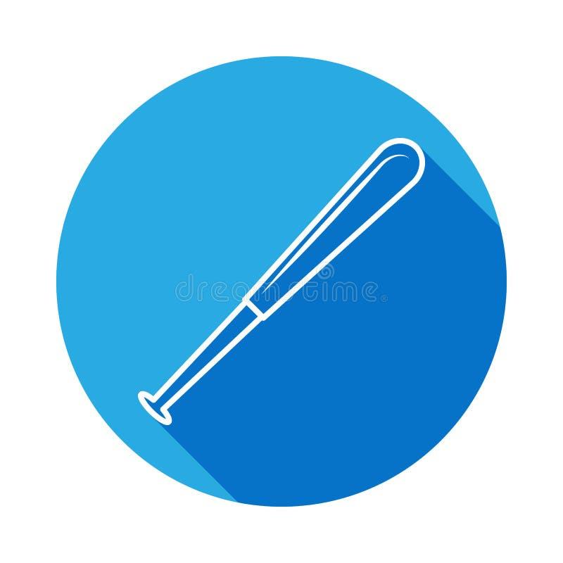 Ícone isolado bastão de beisebol com sombra longa Equipamento de esportes Linha arte monocromática Projeto retro Ilustração do ve ilustração stock