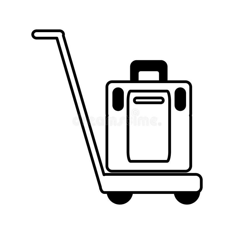 Ícone isolado carro do transporte das malas de viagem ilustração do vetor