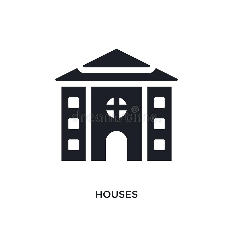 ícone isolado casas ilustração simples do elemento dos ícones do conceito dos bens imobiliários projeto editável do símbolo do si ilustração do vetor