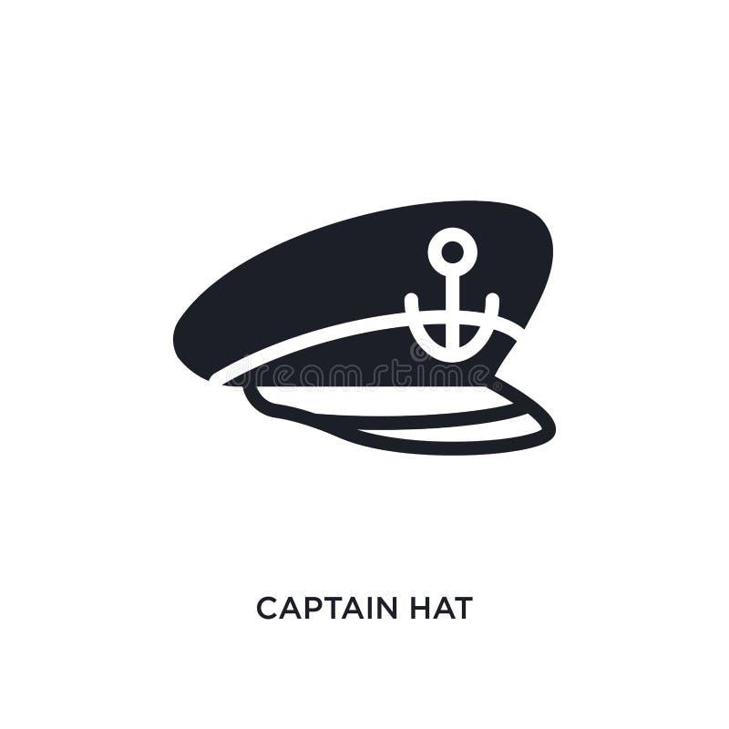 ícone isolado chapéu do capitão ilustração simples do elemento dos ícones náuticos do conceito projeto editável do símbolo do sin ilustração do vetor