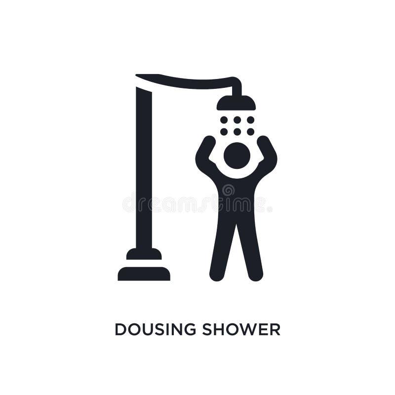ícone isolado chuveiro dousing preto do vetor ilustra??o simples do elemento dos ?cones do vetor do conceito da sauna chuveiro do ilustração royalty free