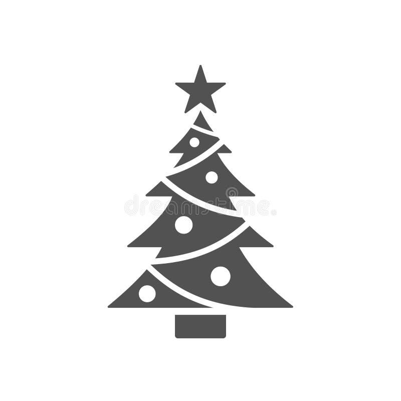 Ícone isolado da árvore de Natal com estrela ilustração stock