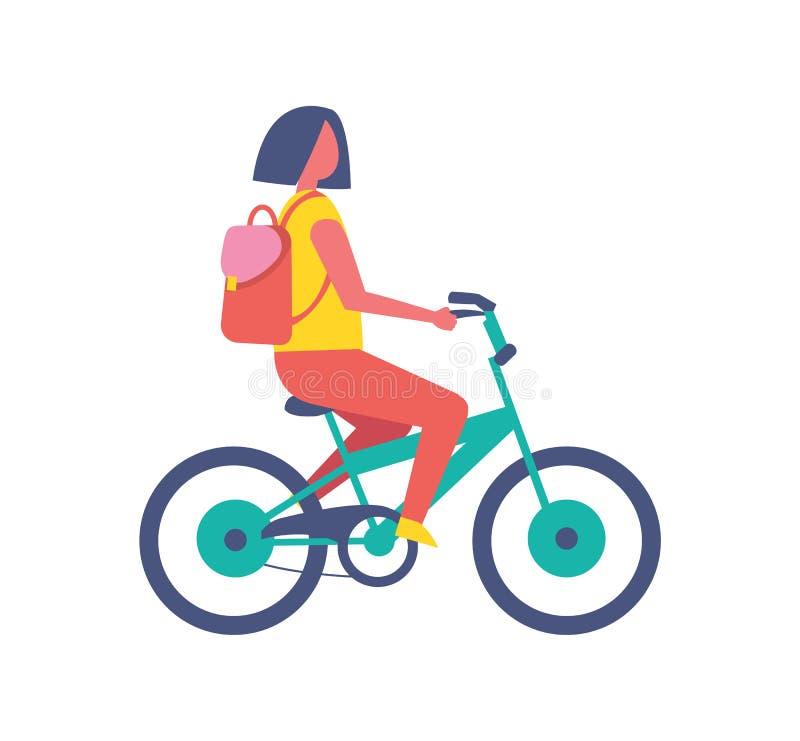 Ícone isolado desenhos animados do vetor da bicicleta da equitação da menina ilustração do vetor