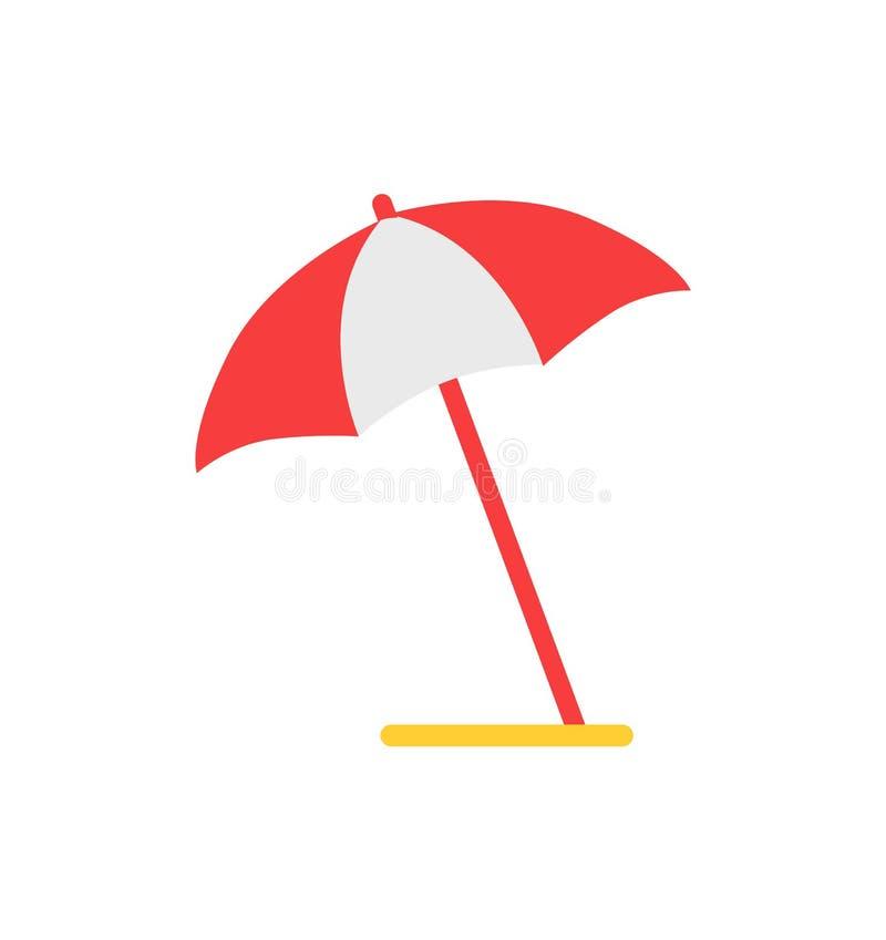 Ícone isolado desenhos animados do vetor do emblema do guarda-chuva de praia ilustração do vetor