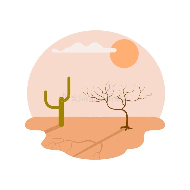 Ícone isolado deserto do vetor da seca ilustração do vetor