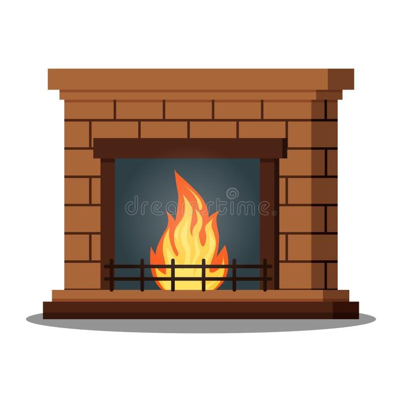 Ícone isolado do close up fireburning da chaminé no fundo branco ilustração stock