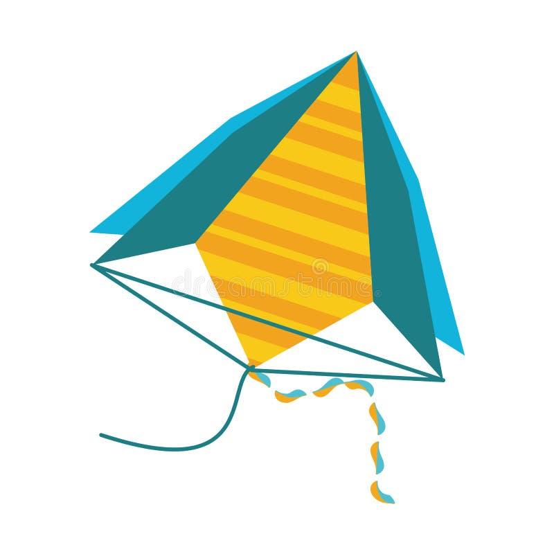 Ícone isolado do papagaio voo bonito ilustração stock