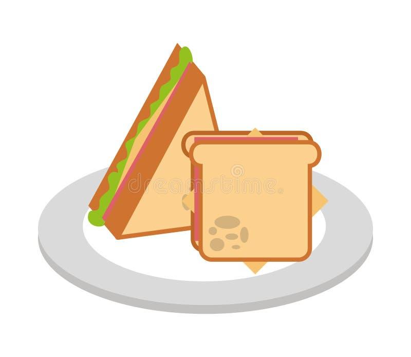 Ícone isolado do sanduíche fast food delicioso ilustração stock