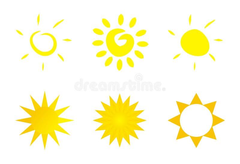 Ícone isolado do sol - logotipo ou arte de grampo ilustração royalty free