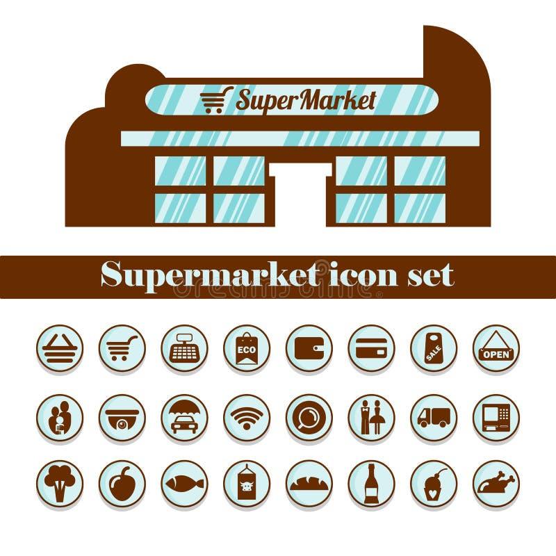 Ícone isolado do supermercado ajustado no marrom Disposição da construção ilustração royalty free