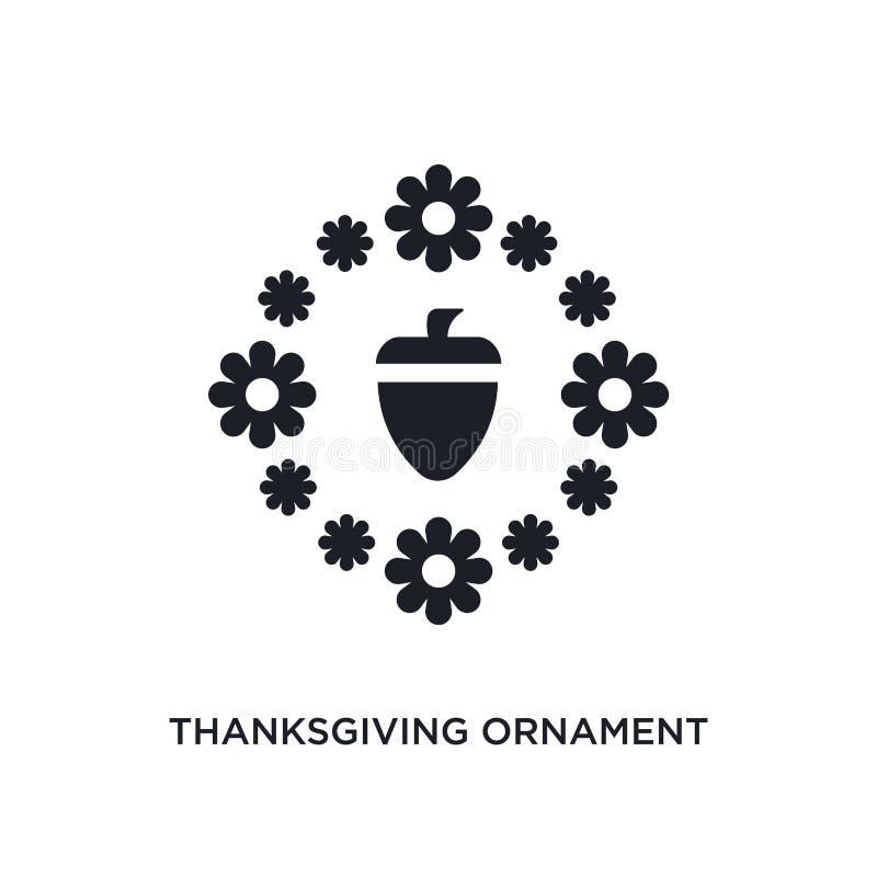ícone isolado do vetor da ação de graças ornamento preto ilustração simples do elemento dos ícones do vetor do conceito de Estado ilustração do vetor