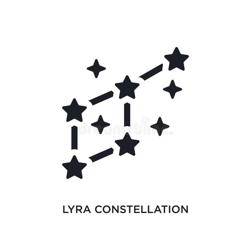ícone isolado do vetor do lyra constelação preta ilustra??o simples do elemento dos ?cones do vetor do conceito da astronomia Con ilustração stock