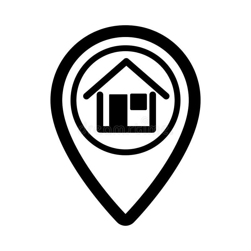 Ícone isolado dos bens imobiliários do Pin ilustração royalty free