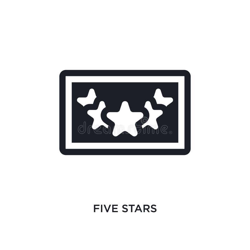 ícone isolado estrelas do vetor do preto cinco ilustração simples do elemento dos ícones do vetor do conceito da acomodação cinco ilustração stock