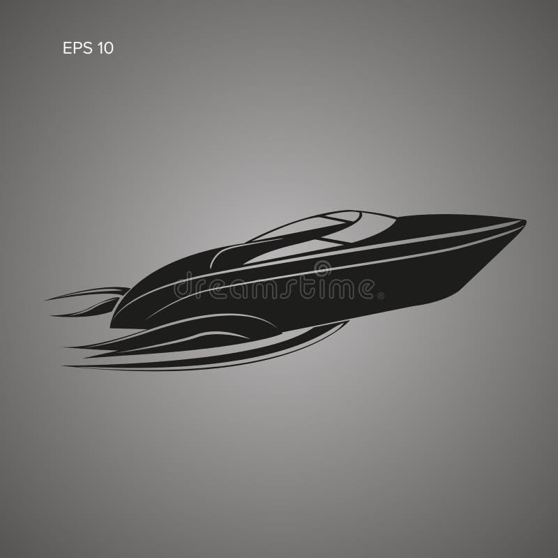 Ícone isolado lancha Vetor luxuoso do barco aerodinâmica ilustração do vetor