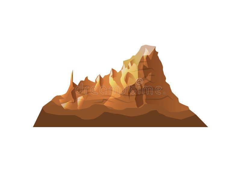 Ícone isolado montanha do vetor do deserto ilustração royalty free