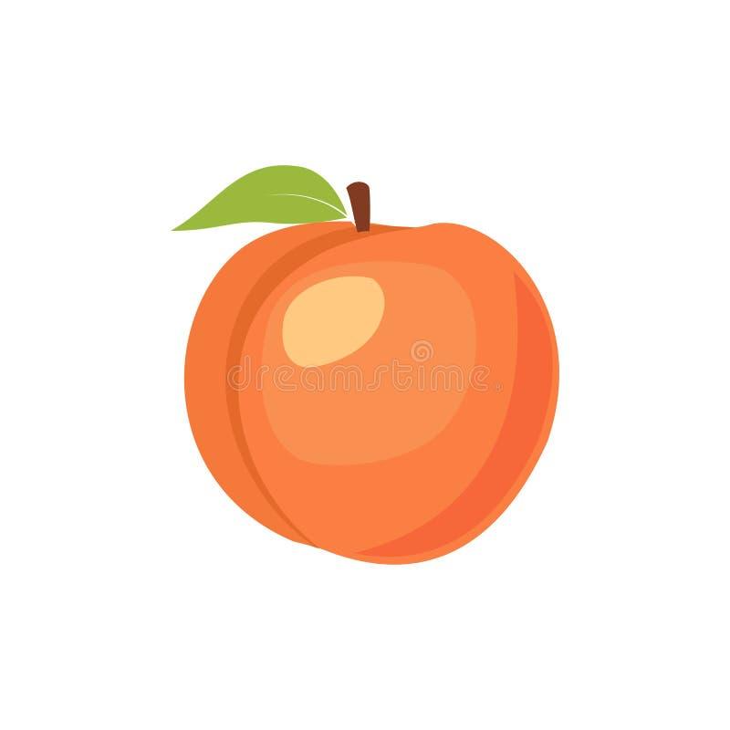 Ícone isolado pêssego do vetor Fruto do pêssego no ramo com folha Logotype de marcagem com ferro quente do suco ou do doce ilustração do vetor