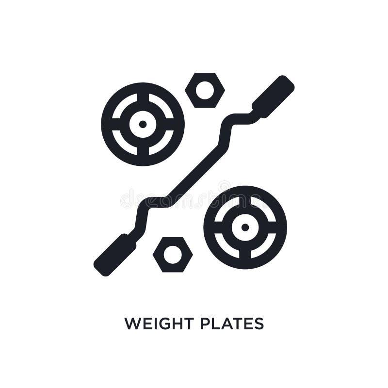 ícone isolado placas do peso ilustração simples do elemento dos ícones do conceito do equipamento do gym símbolo editável do sina ilustração stock