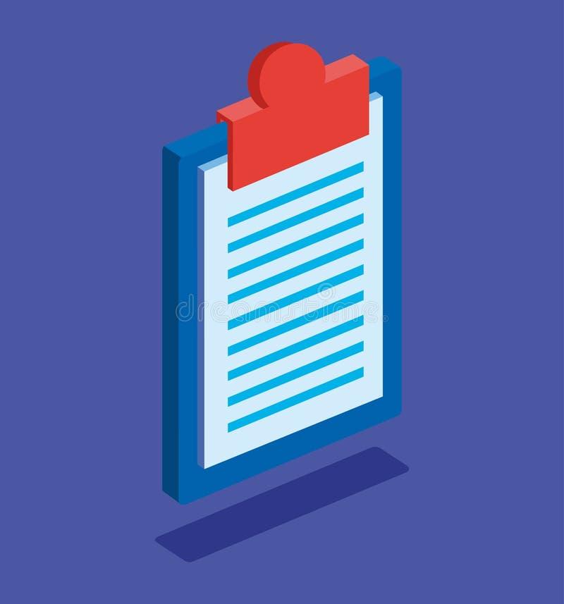 ícone isolado prancheta da lista de verificação ilustração stock