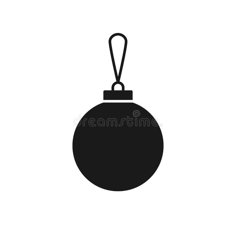 Ícone isolado preto do brinquedo da árvore de Natal no fundo branco Silhueta da bola Projeto liso ilustração royalty free