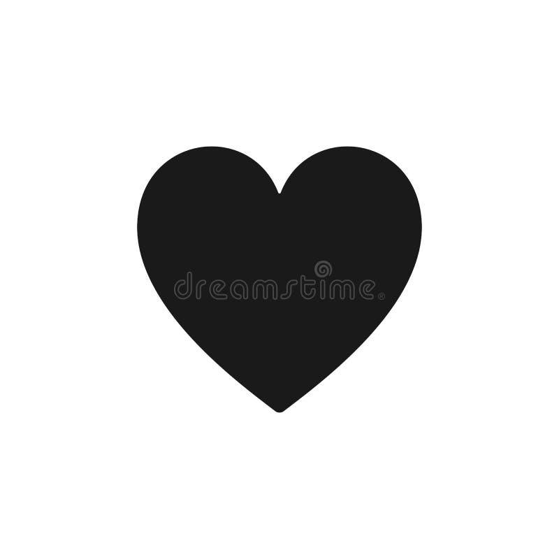 Ícone isolado preto do coração no fundo branco Silhueta da forma do coração Projeto liso ilustração do vetor