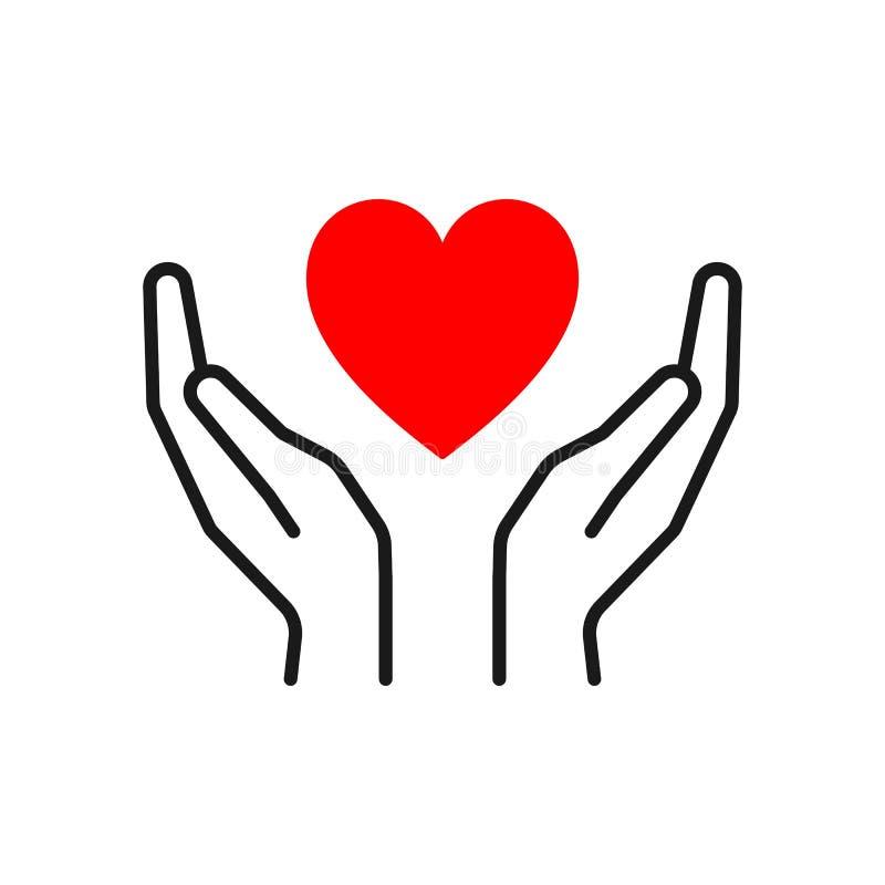 Ícone isolado preto do esboço do coração nas mãos no fundo branco Linha ícone de coração e de mãos vermelhos Símbolo do cuidado,  ilustração stock
