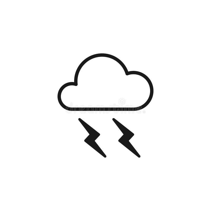 Ícone isolado preto do esboço da nuvem com relâmpago no fundo branco Linha ícone de trovão ilustração stock
