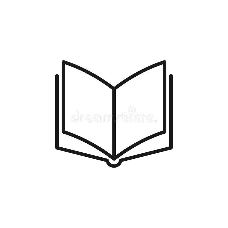 Ícone isolado preto do esboço do livro aberto no fundo branco Linha ícone de livro ilustração royalty free