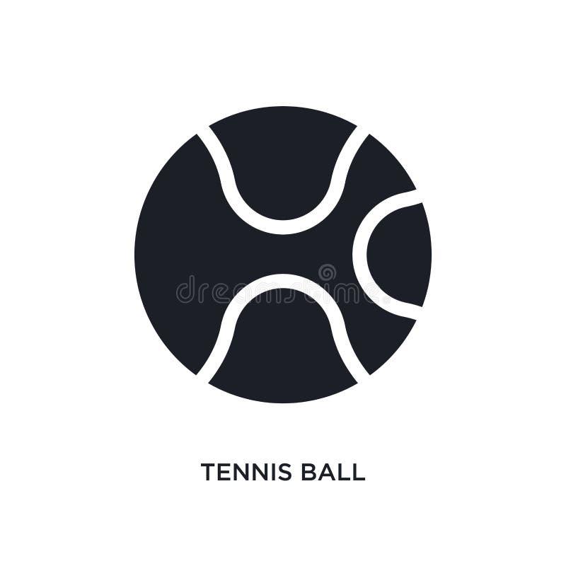 ícone isolado preto do vetor da bola de tênis ilustração simples do elemento dos ícones do vetor do conceito do esporte logotipo  ilustração do vetor