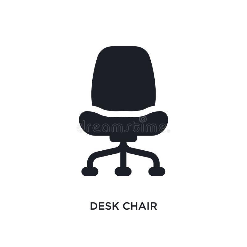 ícone isolado preto do vetor da cadeira de mesa ilustração simples do elemento dos ícones do vetor do conceito da mobília & do ag ilustração do vetor