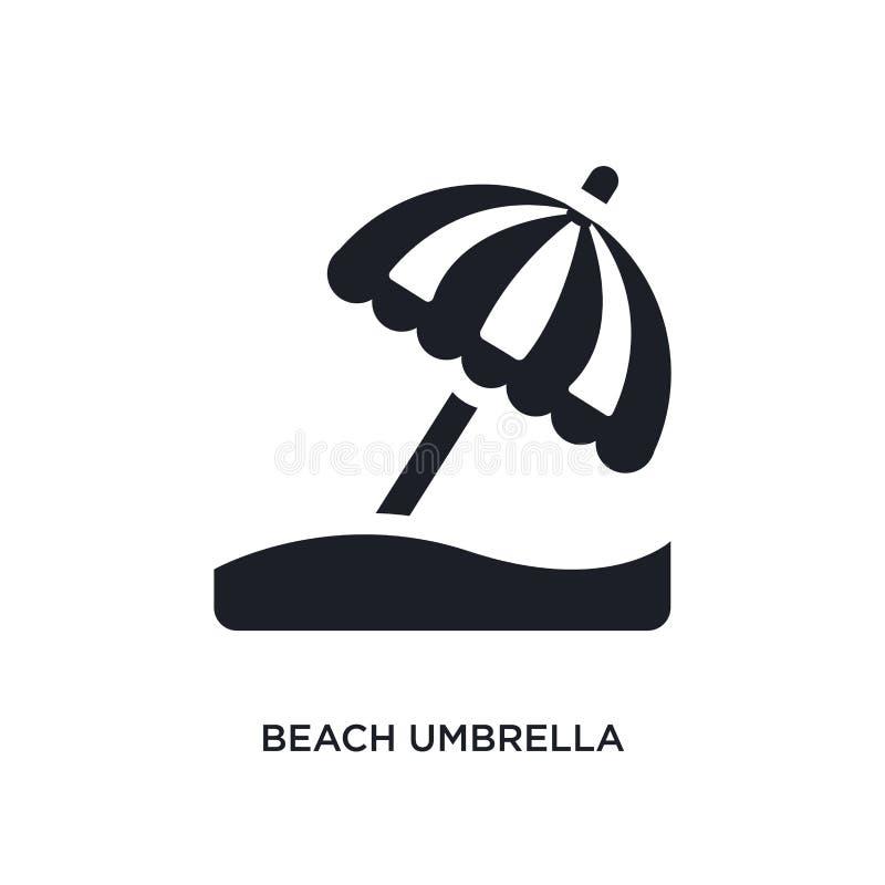 ícone isolado preto do vetor do guarda-chuva de praia ilustração simples do elemento dos ícones do vetor do conceito da acomodaçã ilustração do vetor
