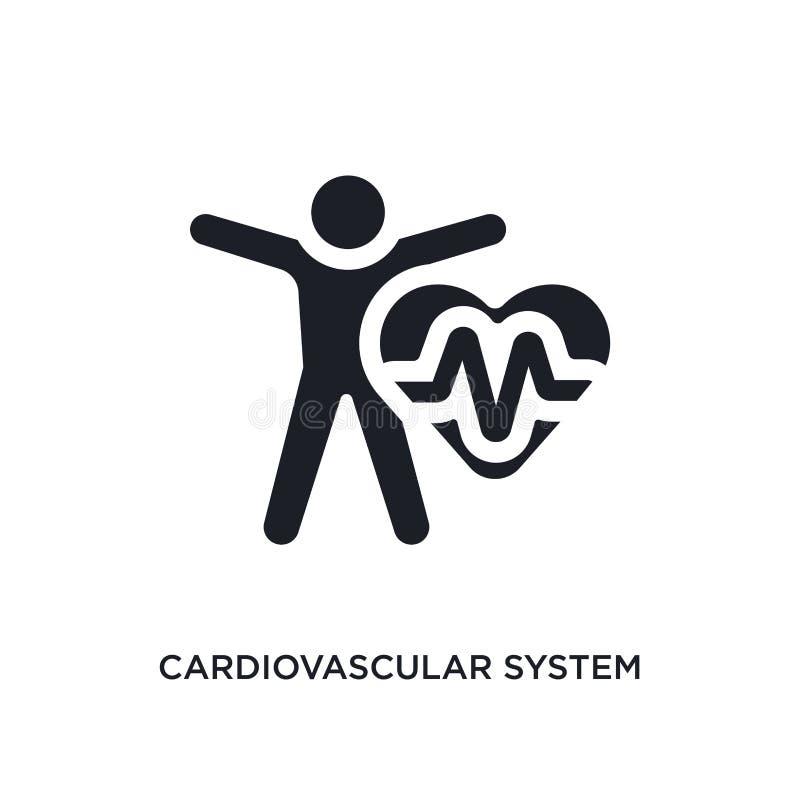ícone isolado preto do vetor do sistema cardiovascular ilustra??o simples do elemento dos ?cones do vetor do conceito da sauna ca ilustração do vetor