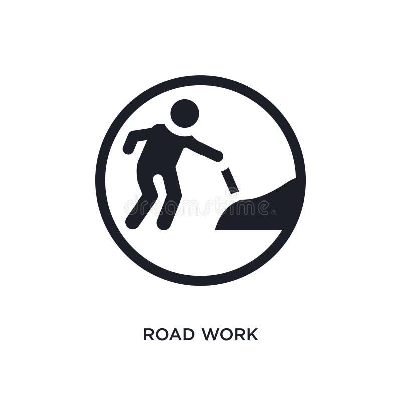ícone isolado preto do vetor do trabalho de estrada a ilustração simples do elemento do tráfego assina ícones do vetor do conceit ilustração do vetor