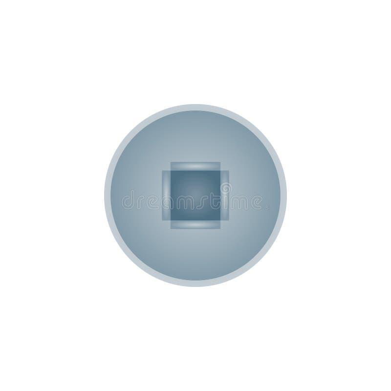 Ícone isolado quadrado realístico da cabeça de parafuso ilustração stock