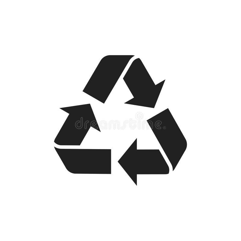 Ícone isolado reciclado Símbolo de reciclagem Sinal de cuidado da natureza Sinal de seta ecologicamente correto ilustração stock