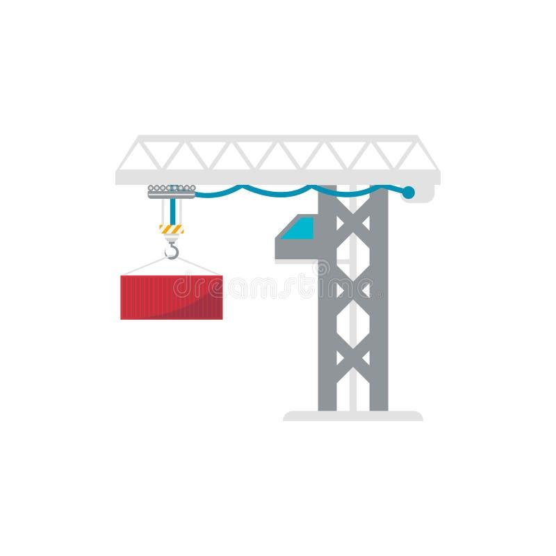 Ícone isolado recipiente da carga do guindaste do porto da torre ilustração do vetor