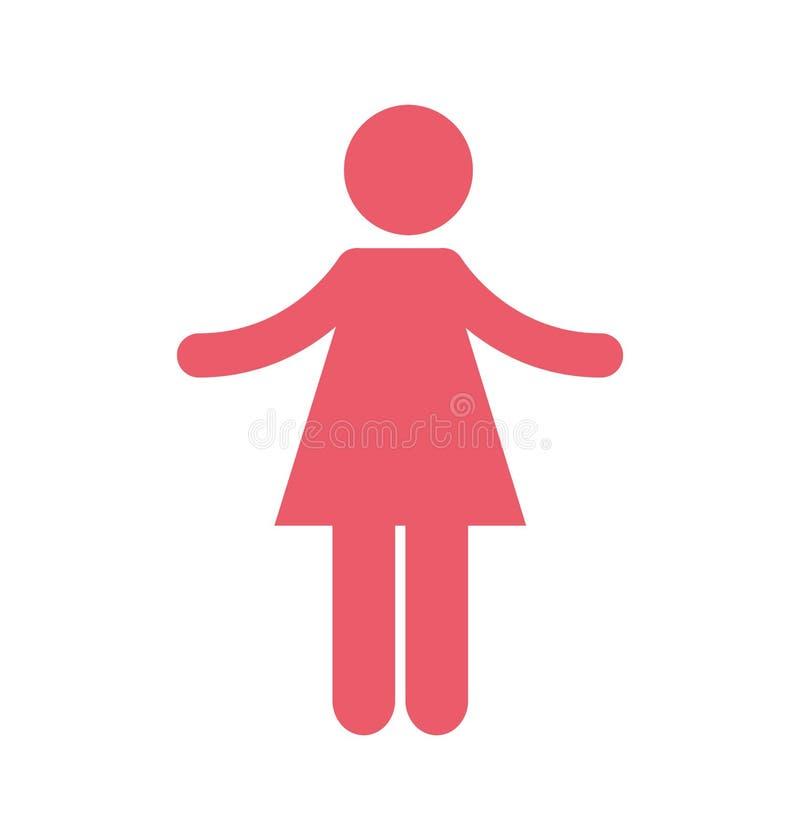 Ícone isolado silhueta da mulher ilustração do vetor
